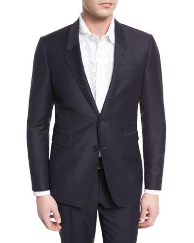 Wool-Blend Two-Button Jacket, Indigo