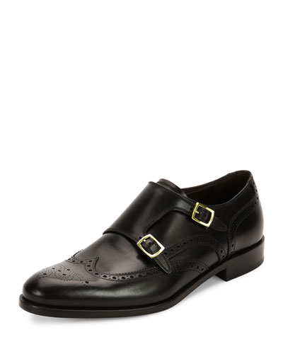 Giovanni Calfskin Wing-Tip Double Monk Shoe with Gold Buckles, Black