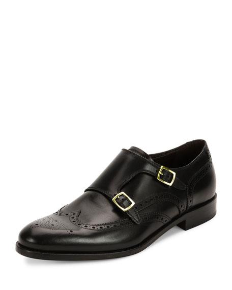 Salvatore Ferragamo Calfskin Wing-Tip Double Monk Shoe with