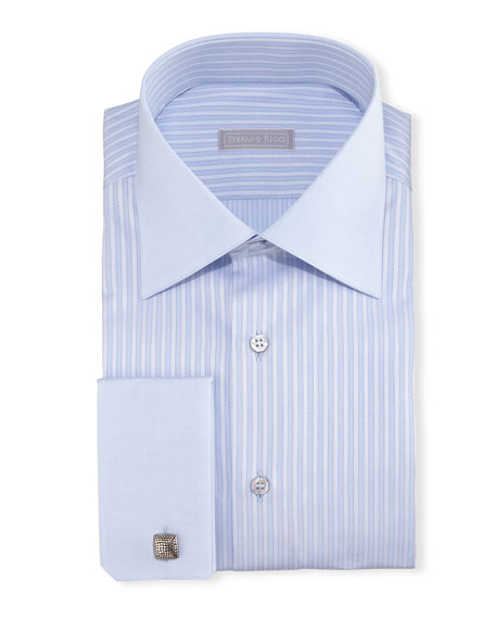 Stefano Ricci Contrast-Collar French-Cuff Striped Dress Shirt,