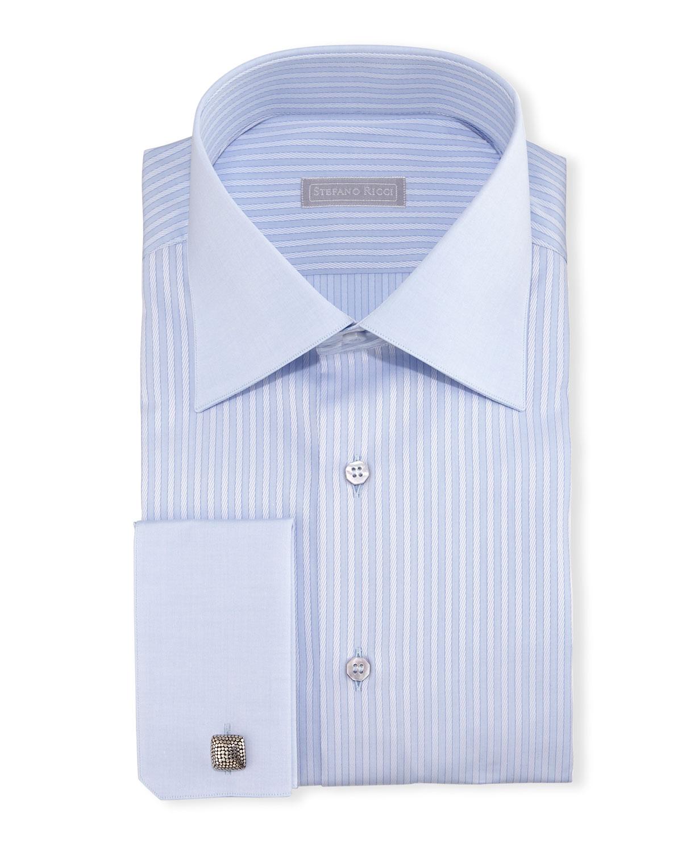 Stefano Ricci Contrast Collar French Cuff Striped Dress Shirt Light