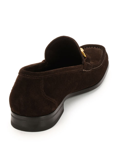 Suede Gancini Loafer, Chocolate