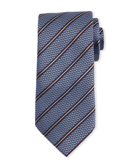 Ermenegildo Zegna Textured Striped Silk Tie, Light Blue