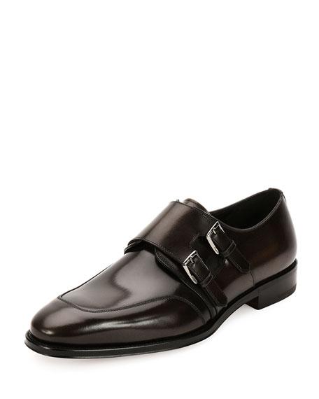 Salvatore Ferragamo Marcelo Polished Calfskin Double Monk Shoe,