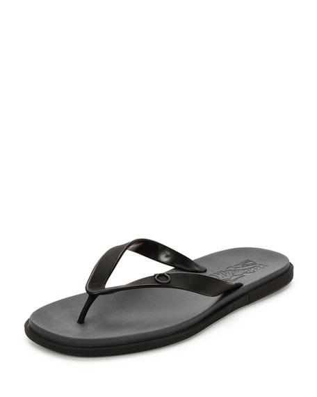 Salvatore Ferragamo Guinea Gancino Flip-Flop Sandal, Black