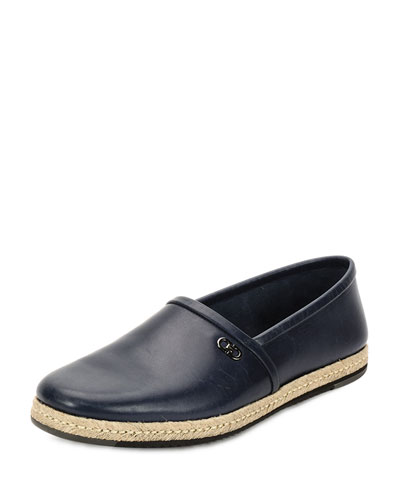 Giunone 2 Calfskin Espadrille Shoe, Blue Marine