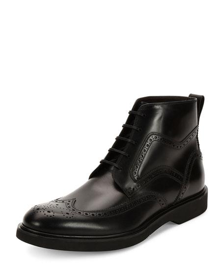 Salvatore Ferragamo Gaiano Calfskin Wing-Tip Lace-Up Boot, Black