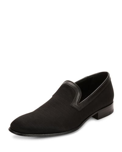 Garth 2 Grosgrain Loafer with Calfskin Trim, Black