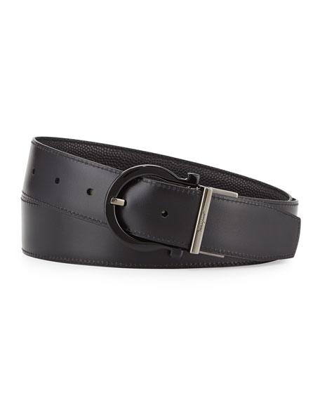 Salvatore Ferragamo Reversible Gancini-Buckle Leather Belt, Black