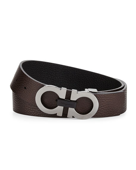 Men's Double-Gancini Buckle Leather Belt, Black/Hickory