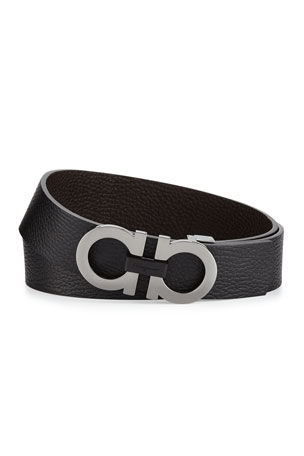 Salvatore Ferragamo Men's Double-Gancini Buckle Leather Belt, Black/Hickory