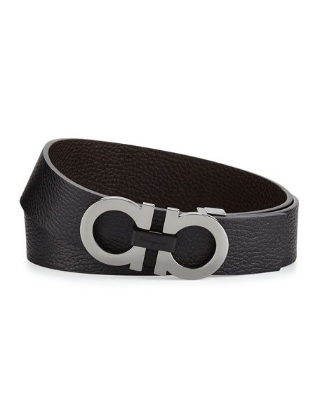 Salvatore Ferragamo Double-Gancini Buckle Leather Belt, Black/Hickory