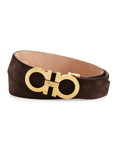 Double Gancini Suede Belt, Chocolate