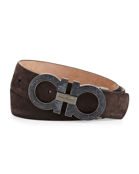 Salvatore FerragamoLarge Double-Gancini Buckle Belt, Gray