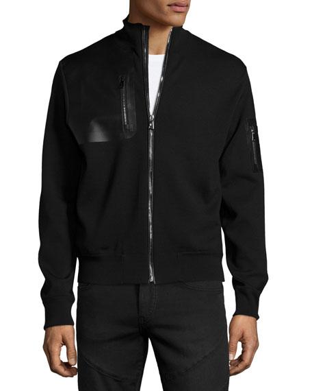 Ralph Lauren Full-Zip Jacket with Leather Trim, Black