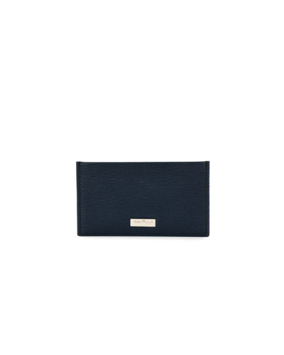 Revival Leather Flat Card Case, Navy/Gray