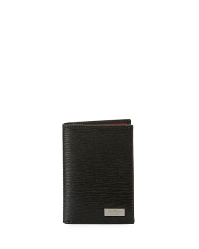 Revival Leather Flat Card Case, Black/Red