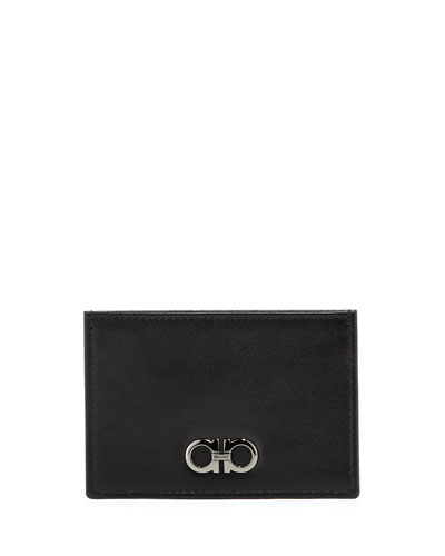 Double-Gancini Leather Flat Card Case, Black