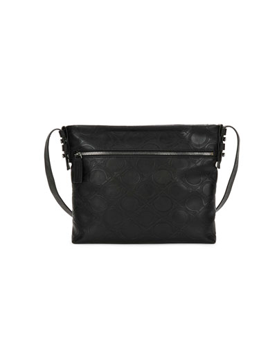 Men's Gancini-Embossed Vegan-Leather Shoulder Bag