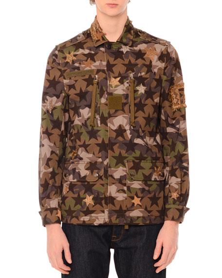 Valentino Camo-Star Print & Embroidered Jacket, Green Multi