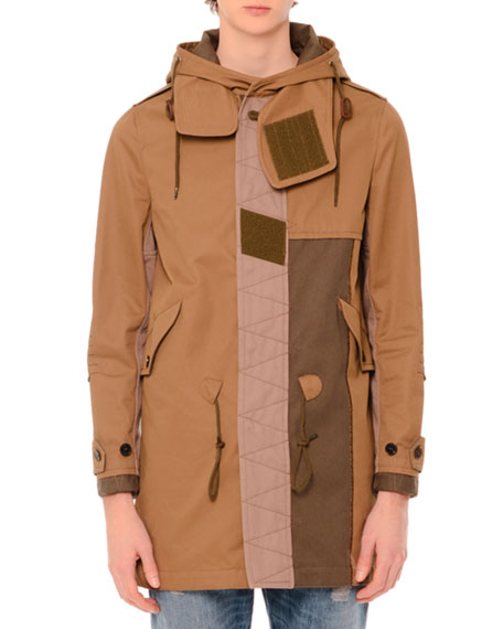 Patchwork Hooded Duffle Coat, Olive/Khaki