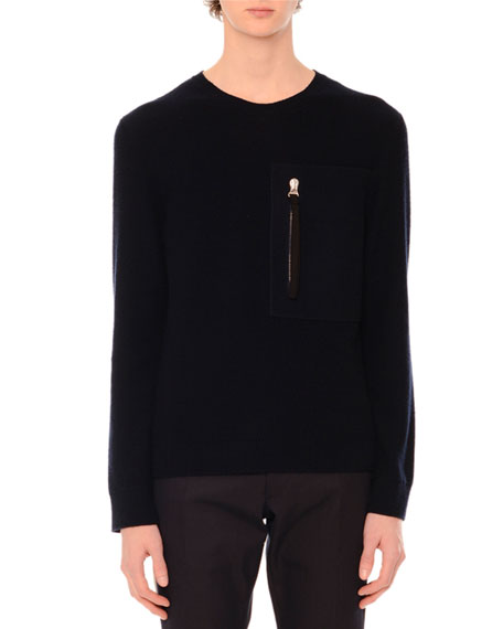 Valentino Large-Zip Crewneck Sweater, Navy