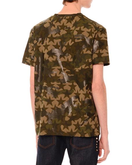 Camo & Star-Print Short-Sleeve T-Shirt, Green Multi