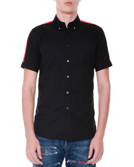 Alexander McQueen Short-Sleeve Button-Down Shirt w/Red Stripes, Black