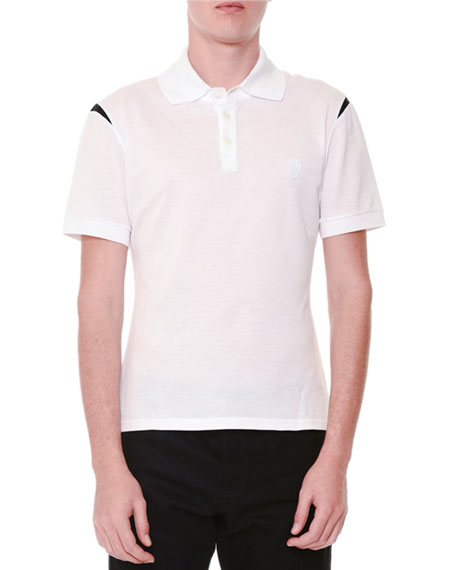Alexander McQueen Short-Sleeve Logo Polo Shirt w/ Shoulder