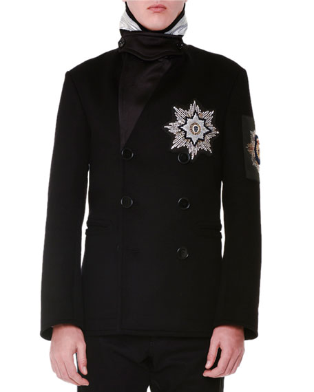 Alexander McQueen Beaded Medallion Double-Breasted Pea Coat,