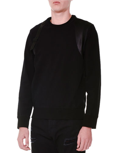 Harness-Inset Sweater, Black