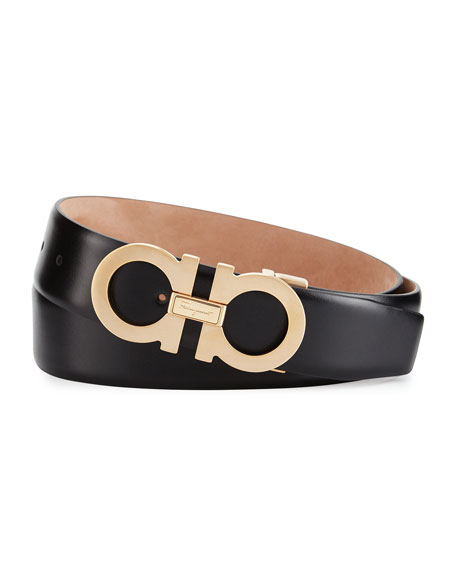 Salvatore Ferragamo Double Gancini Leather Belt, Black