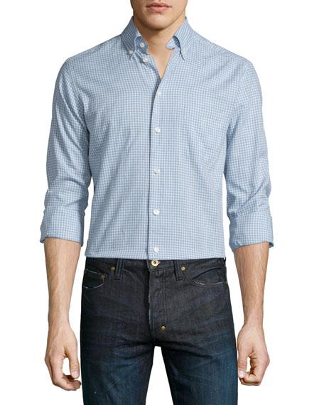 Eton Mini-Plaid Long-Sleeve Sport Shirt, Light Blue