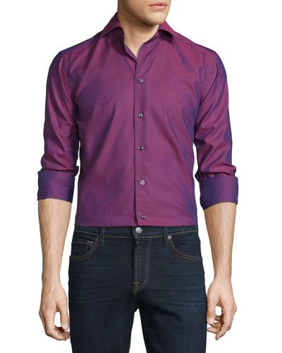 Mini Dot-Print Long-Sleeve Sport Shirt, Wine