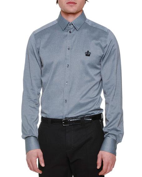 Dolce & Gabbana Crown-Logo Textured Long-Sleeve Sport Shirt,