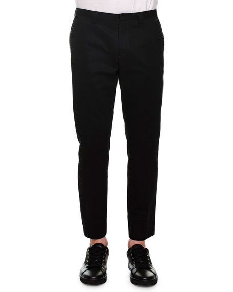 Dolce & Gabbana Side-Stitch Flat-Front Trousers, Black