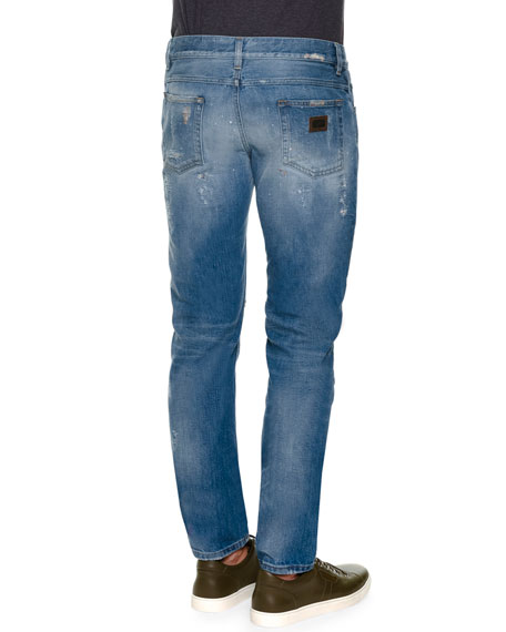 Destroyed Five-Pocket Denim Jeans, Light Blue