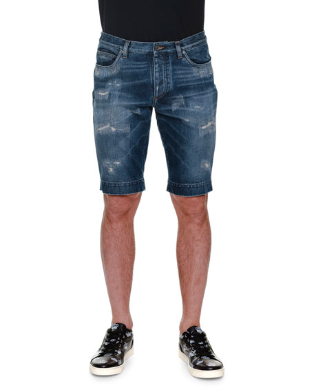 Dolce & Gabbana Distressed Denim Shorts, Blue