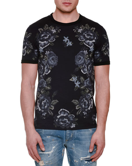 Dolce & Gabbana Embroidered Rose-Print Short-Sleeve Tee, Gray
