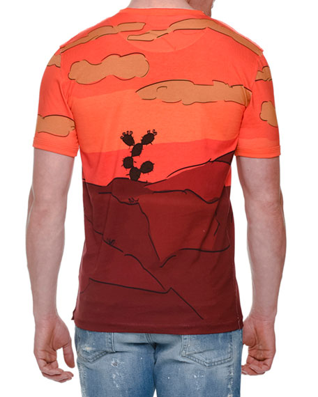 Cowboy-Print Short-Sleeve Tee, Orange Multi