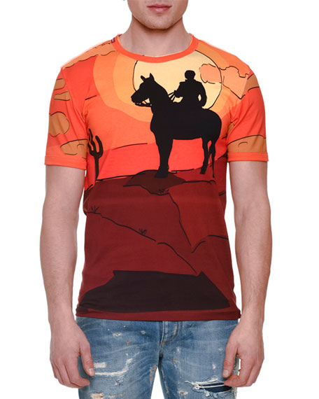 Cowboy-Print Short-Sleeve T-Shirt, Orange Multi