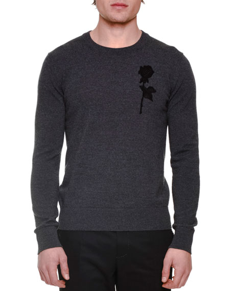 Dolce & Gabbana Rose Embroidery Long-Sleeve Crewneck Sweater,