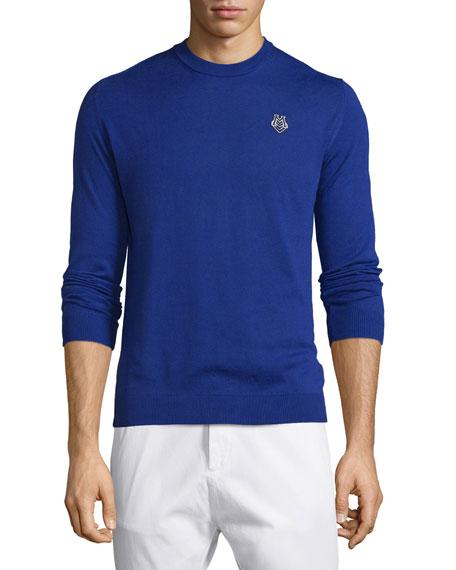 Moschino Uomo Long-Sleeve Crew-Neck Sweater, Purple
