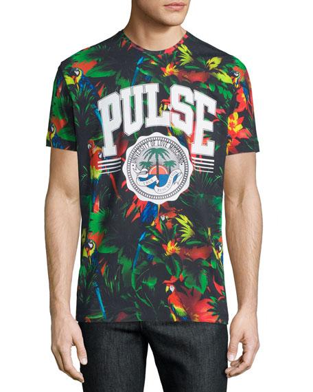 Short-Sleeve Tropical-Print T-Shirt, Black/Multi