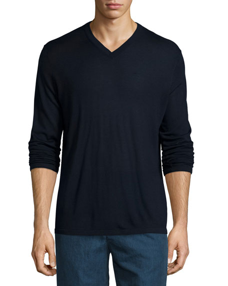 Vince V-Neck Wool-Silk Sweater, Navy