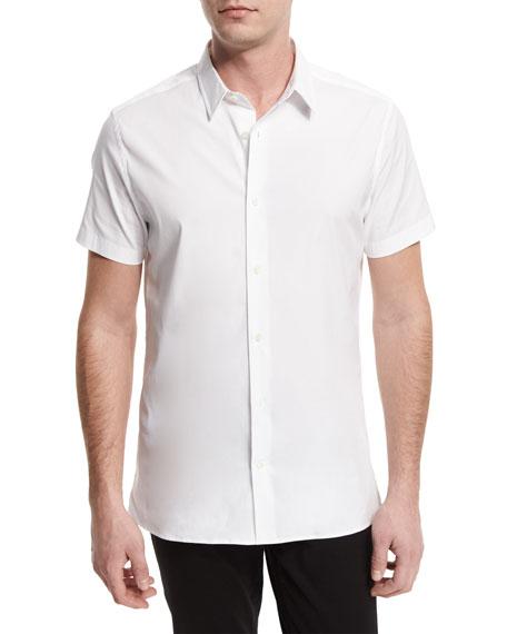 Vince Manhattan Short-Sleeve Stretch Shirt, White