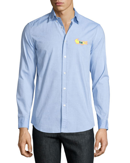 Moschino Uomo Button-Front Dress Shirt, Light Blue