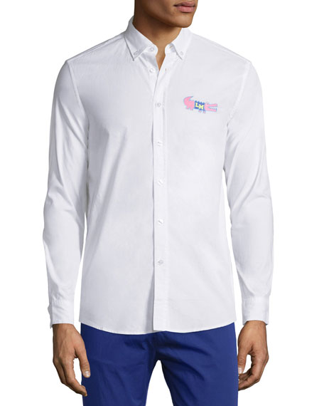 Moschino Uomo Long-Sleeve Button-Front Dress Shirt, White