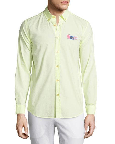 Moschino Uomo Button-Front Dress Shirt, Yellow