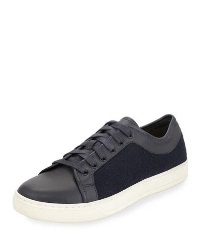 Ashton Leather & Felt Low-Top Sneaker, Navy
